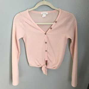 January 7 pale pink long sleeve top